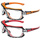 2 Pairs of Global Vision Octane Padded Safety Glasses Orange and Red Gaskets Clear Lens