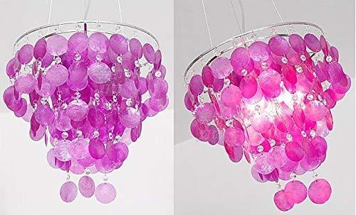 Desconocido Lampara de Techo de diseño Colgante Conchas NACARADAS- Color Violeta - Envio INMEDIATO Desde ESPAÑA