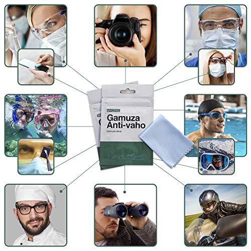 Toallita antivaho gafas, gamuza seca de MICROFIBRA antivaho reutilizable antivaho gafas para 200 usos y con una duración de 12 horas. Paño de MICROFIBRA seco antivaho mascarilla. Limpia gafas antivaho