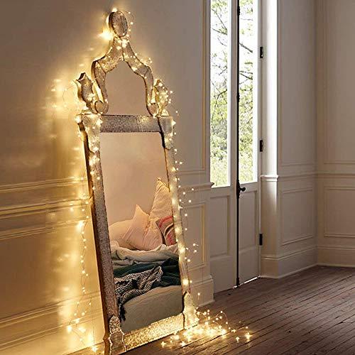 MOVEONSTEP Luces de Cadena 100 LED Funciona Con Pilas Impermeable 11M 8 Modos Guirnalda Luminosa con Función Temporizador Fiesta de Navidad Decoración de Halloween Iluminación-Blanco Cálido