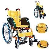 Casa de renovación Silla de ruedas plegable para niños Carro médico de conducción liviano Silla de ruedas autopropulsada Silla de ruedas para rehabilitación de parálisis cerebral para adolescentes