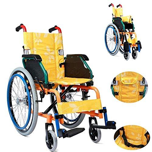 WXDP Silla de ruedas autopropulsada, plegable para niños y niños, con conducción ligera, rehabilitación de parálisis cerebral autopropulsada