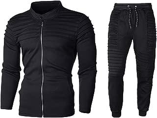 Beautyfine Men's Sweatshirt Tracksuit Suit Autumn Solid Zipper Sports Top Pants Sets