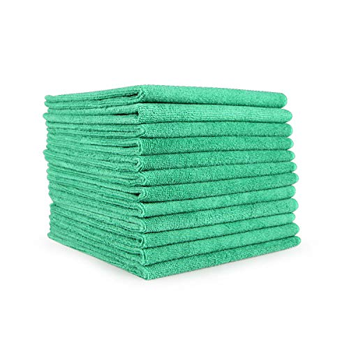 Arkwright Microfiber Cleaning Cloths (12x12, 12-Pack) - Perfect Microfiber Towel Set for Home, Kitchen, Gym, Cars, Glass (Green)