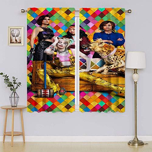 Harley Quinn – Cortinas Suicide Squad, cortinas opacas superiores y cortinas mantienen las cortinas calientes para dormitorio 196 x 107 cm