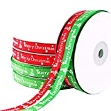 Ningning 2 Rolls Christmas Ribbon 50 Yards 3/8 Inch Snowflake and Christmas Letter Printed Satin Ribbon Christmas Red and Green Ribbons for Gift Wrapping Holiday Bows Decorations
