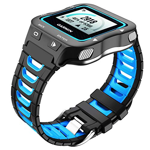 NotoCity Compatible with Garmin Forerunner 920XT Band Soft Silicone Watch Strap for 920XT Replacement Wristband Sports for Men Women, Black-Blue