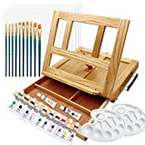 ART QIDOO Art Table Easel for Painting and Drawing, Adjustable Wood Easel Stand with Canvas, Acrylic Paint, Brushes and Palettes, Portable Painting Easel for Kids, Adults & Artists