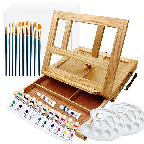 ART QIDOO Art Table Easel for Painting and Drawing, Adjustable Wood Easel Stand with Canvas, Acrylic...