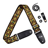 Amumu Guitar Strap Sparkly Golden Thread Embroidery Cotton for Acoustic, Electric and Bass Guitars with Strap Blocks & Headstock Strap Tie - 2' Wide