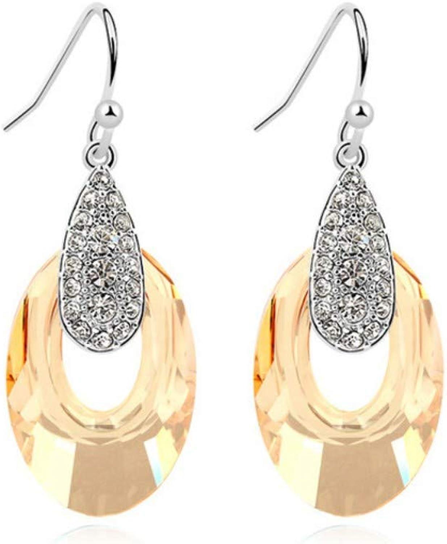 Women Earring Studs Earring Drop Earrings Ear Line,Simple Wild Crystal Earrings Oval Geometric Earrings gold, Ladies Jewelry Everyday Wear
