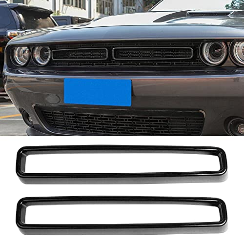 F FINEC 2PCS Front Grill Mesh Grille Inserts ABS Trim Cover Kit for 2015-2021 Dodge Challenger Car, Exterior Accessories Decoration, Black (Black)