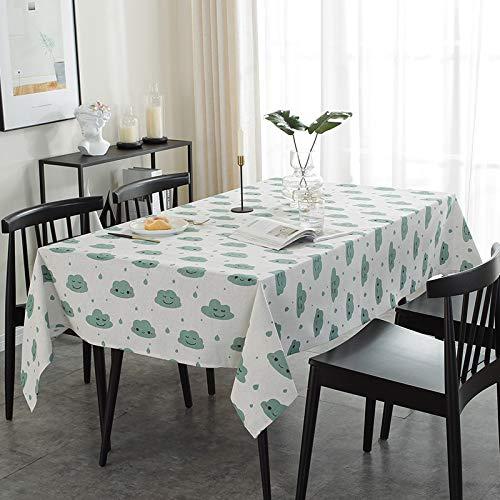 NYSM Mantel Casero Moderno Minimalista Mantel De Mesa De Café Mantel De Nube Cuadrados Mantel Hule Transparente Cuadrado Mantel Tela Antimanchas Cuadrado Manteles Verde 140 * 200cm