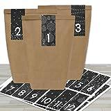 DIY Adventskalender zum Befüllen - mit 24 braunen Papiertüten und 24 schwarz-weißen Aufklebern -...