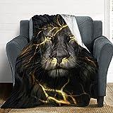 Lion Blanket Cool Lion Throw Blanket Ultra Soft Blankets Fluffy Cozy Flannel Blanket for Bedroom Living Room Travel 50'X40'