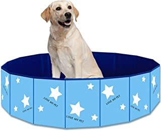 Yu-Xiang PVC Dog Swimming Pool Foldable Pet Water Bathtub Portable Star Design Dogs Bathing Tub Cats Pond Pool Paw Pattern...