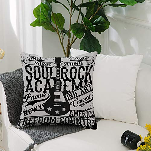 Fundas Cojines de Poliéster -50x50cm,Retro, Soul Rock Academy Theme Music School Guitarra...