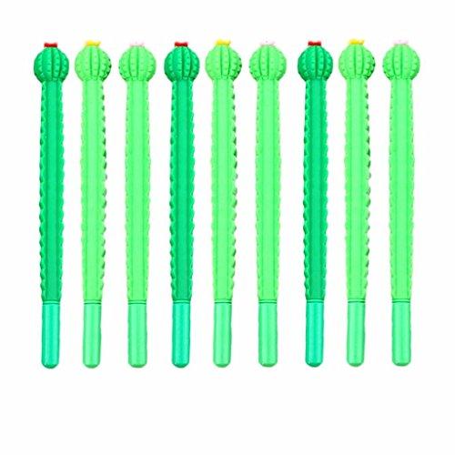 BraveWind 10 Stks 0.5mm Novelty Cactus Gel Inktpennen Kunststof Ball Pen Balpen Schrijven Pen voor Office School Kinderen Gift