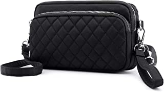 Small Nylon Crossbody Purse for Women Small Handbags Mini Nylon Travel Shoulder Bag Multi Zipper Pockets