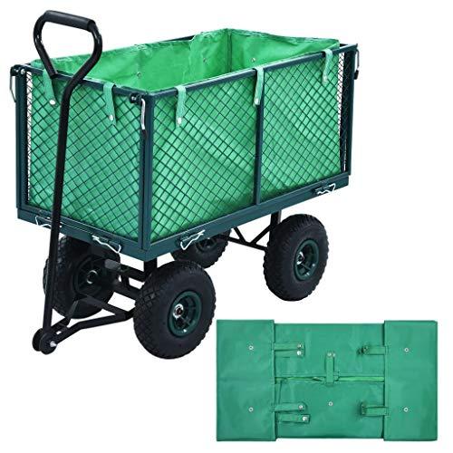 vidaXL Innenplane für Gartenwagen Bollerwagen Handwagen Transportkarre Gerätewagen Transportwagen Innenverkleidung Plane Grün Stoff