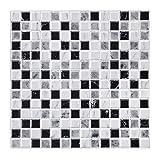 decalmile 10 3D Piezas Azulejos Adhesivos 30,5cm x 30,5cm Negro Blanco Mármol Mosaico...