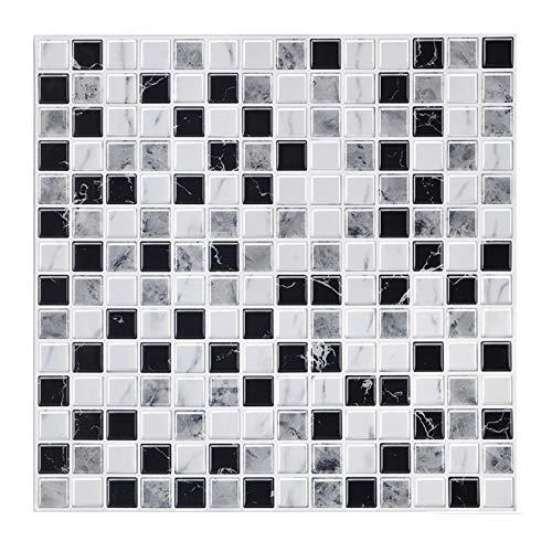 decalmile 10 3D Piezas Azulejos Adhesivos 30,5cm x 30,5cm Negro Blanco Mármol Mosaico Pegatinas de Azulejos Autoadhesivo Cocina Baño Decoración
