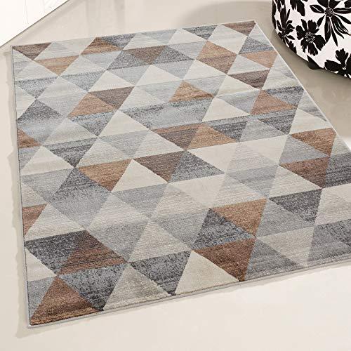 Mynes Home UK Rug Living Room Soft Dense Pile Modern Triangle Design In  Brown (160 x 230 cm)
