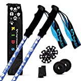 High Stream Gear Kid's Trekking Poles – Collapsible Telescopic Walking Sticks for Children – Brightly Colored Hiking Poles Made for Boys and Girls - Includes Carrier Bag and Accessories (Blue)