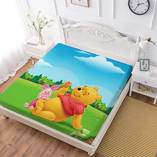 Fitted Sheet,Winnie The Pooh Bear Piglet Tiger,Soft Wrinkle Resistant Microfiber Bedding Set,with All-Round Elastic Deep Pocket, Bed Cover for Kids & Adults,twin (47x80 inch)