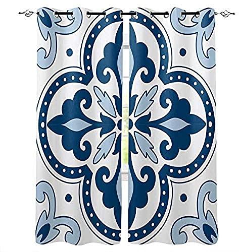 LUOWAN Tende Oscuranti Bambini Microfibra - 234x183 cm - Blu bohémien fantasia - 95% Tenda oscurante Risparmio Energetico Moderne per cucina camera Letto Soggiorno Hotel