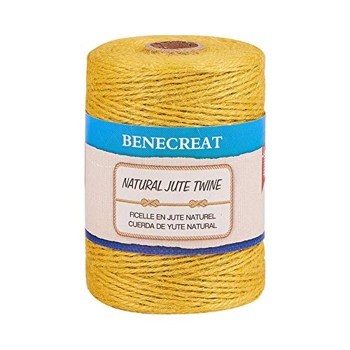 BENECREAT 200m 2mm Cuerda de Cáñamo Natural Cordón Trenzado de Yute para Bricolaje, Artes, Manualidades y Decoración Materiales para Jardinería Amarillo