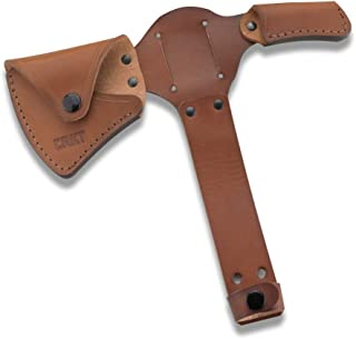 CRKT Woods Kangee Tomahawk Sheath: Full Grained Leather, Multiple Snaps, Belt Loops for Secure Carry of T-Hawk D2735