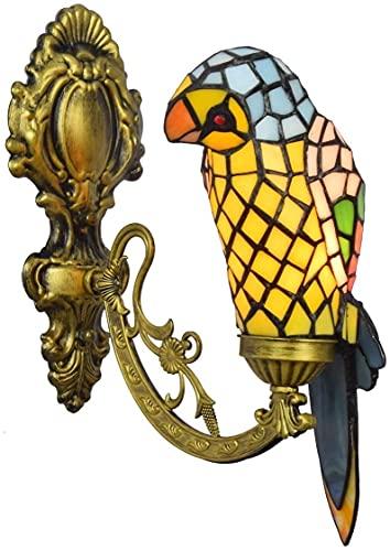 Lámpara de Pared de Moda Pared Luz Luz Moderno Loros Pájaro Lámpara de Pared Baño Espejo Lámpara de Pared Europea Pastoral Cristal Noche Luz Ancha