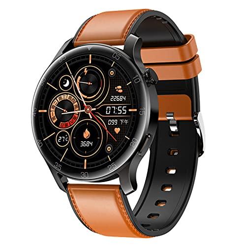QFSLR Smartwatch Hombre,Reloj Inteligente con Pulsómetro, con Monitor De Presión Arterial Monitoreo De Oxígeno En Sangre Control De Música Reloj Deportivo,Marrón