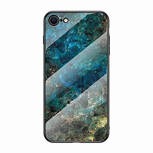 Miagon Verre Coque pour iPhone 6S Plus/6 Plus,Marbre Séries 9H Revêtement Arrière en Verre Trempé Protection Cover avec Silicone Souple Cadre pour iPhone 6S Plus/6 Plus,Vert