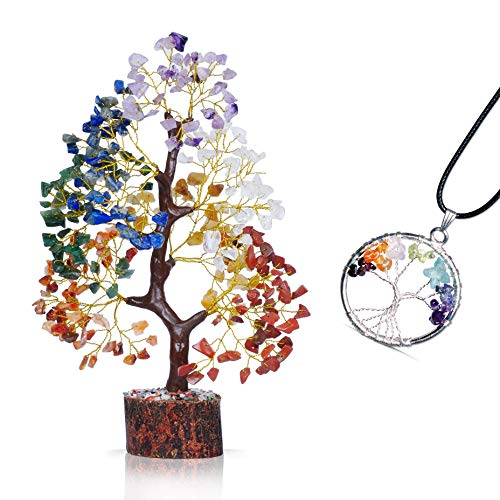 PYOR 7 Chakra Tree of Life Necklace Buddha Pendant Aura Cleansing Good Luck Charm Prosperity Crystals Gems Healing Feng Shui Products Bedroom Good Luck Decor Spiritual Gifts Positive Energy Generator