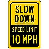 bienternary 10mph limite di velocità segno rallentare aluminum Sign metal Signs cartelli stradali vintage segni di latta placche decorative Plaque