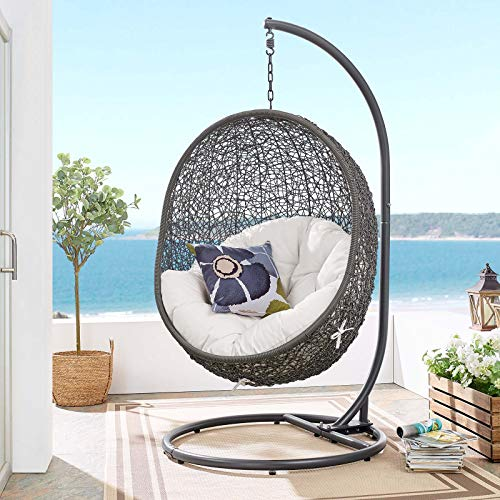 Modway EEI-3929-GRY-WHI Hide Outdoor Swing Chair with Stand, Gray White