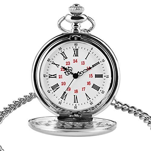 ZMKW Reloj de Bolsillo de Metal Plateado Liso, Reloj de Cuarzo, Esfera Redonda, analógico, 30 cm, Cadena, Regalos, Reloj, predeterminado