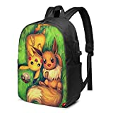 Pokemon Pikachu Travel Backpack, with USB Charging Port, Computer Bag, 17-Inch Laptop…