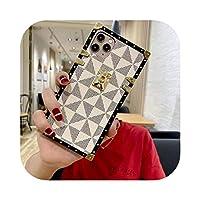 絶妙なしい 高級ブランド潮ショースクエアレザー電話ケース用For iphone 11プロマックスXR X XSマックス7 8プラスSE 2格子保護バックカバー-White lattice-For iphone 7Plus