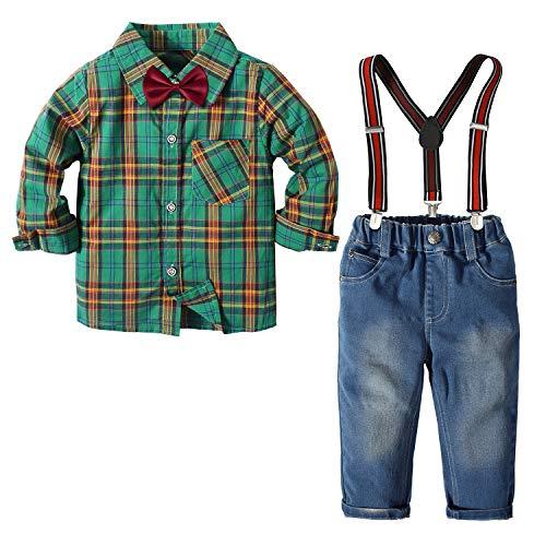 Nwada Herbst Winter Jungen Outfits Sets 4 StüCk Jeans HosenträGer Hose + Langarm Krawatte Hemden Tops Kinder Weihnachtskleidung GrüN 2 Jahre