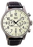 Davis –0454- Orologio Uomo Aviatore Vintage 48 mm - Quadrante Beige - Cronografo Stagno 50 M - Cinturino in Pelle Nero impunturato