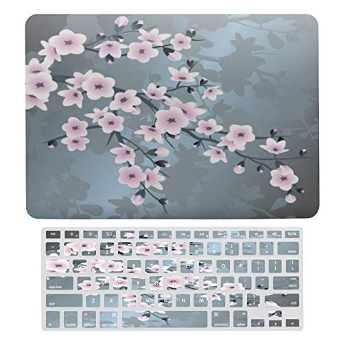 Case for MacBook Cute Dusky Pink Grayish Blue Cherry Blossoms Plastic Pattern Hard Case & Keyboard Cover Only Compatible with MacBook Air 13 (models: A1369 & A1466)