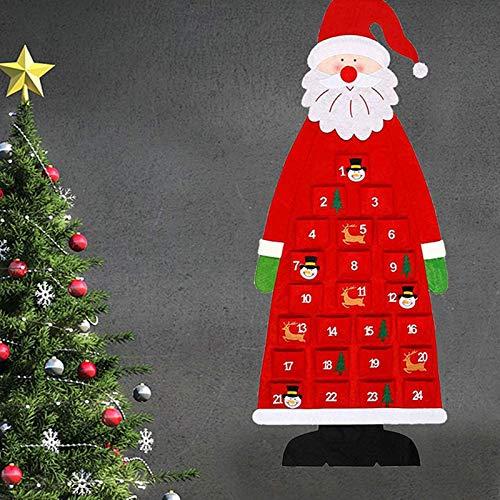DAHI adventskalender zum Aufhängen Filz-Adventskalender Zahlen Santa Weihnachtsmann Adventskalender...