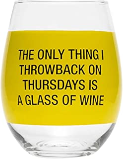 About Face Designs Throwback on Thursday Stemless Wine Glass, Clear