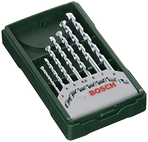 Bosch Home and Garden 2607019581 Bosch Mini X-line - Set de 7 brocas para piedra (Ø 3/4/5/5,5/6/7/8 mm), Piezas