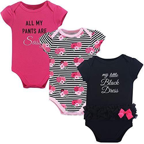 Little Treasure Unisex Cotton Bodysuits, Little Black Dress, 3-6 Months