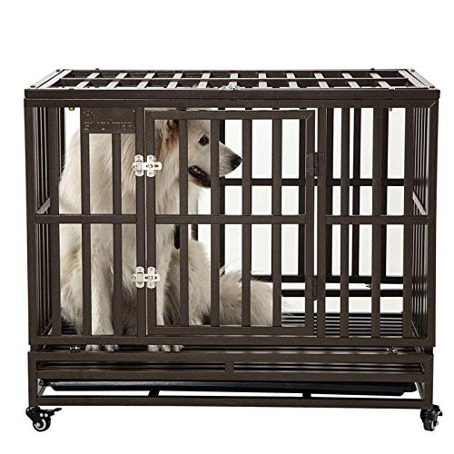 SMONTER 38' Heavy Duty Strong Metal Dog Cage Pet Kennel Crate...