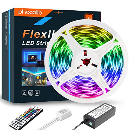 PHOPOLLO LED Strip Lights, 16.4ft RGB Color Changing 5050 300LEDs Waterproof Flexible LED Tape Light Kit with 44 Key IR Remote Controller and 12V Power Supply for Room, Bedroom and Xmas